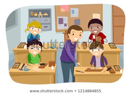 Stickman Kids Woodworking Camp Illustration Stock photo © lenm