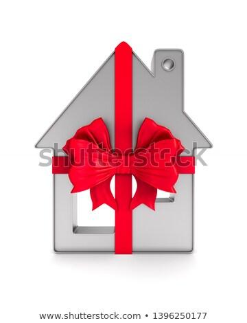 Metaliczny cacko domu czerwony łuk biały Zdjęcia stock © ISerg