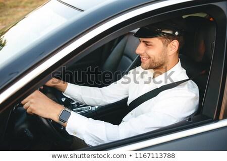 Portré boldog európai férfi taxi sofőr Stock fotó © deandrobot
