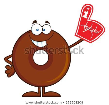 Smiling Donut Cartoon Character Wearing A Foam Finger Stock photo © hittoon
