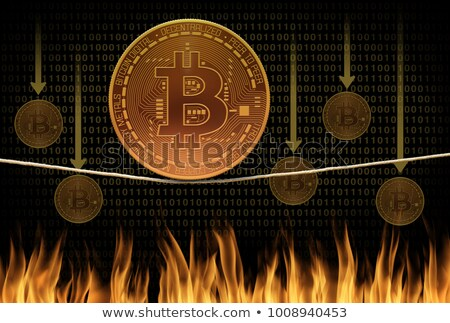 Decline of Bitcoin - fall of flaming bitcoin, cryptocurrency dro Stock photo © Winner