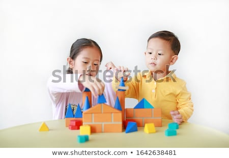 Baba fiú építőkockák fehér épület építkezés Stock fotó © Lopolo