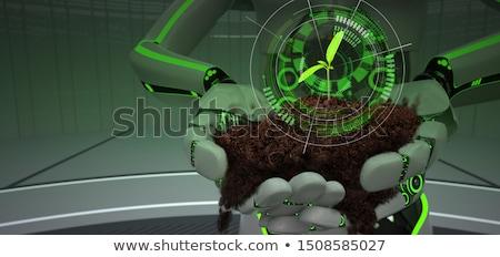 Eco robot manos planta de semillero verde suelo Foto stock © limbi007