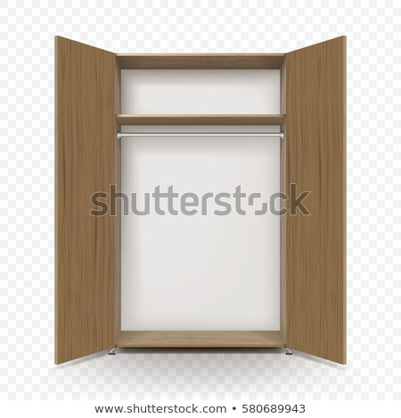 Opened wooden wardrobe, empty inside Stock photo © magraphics