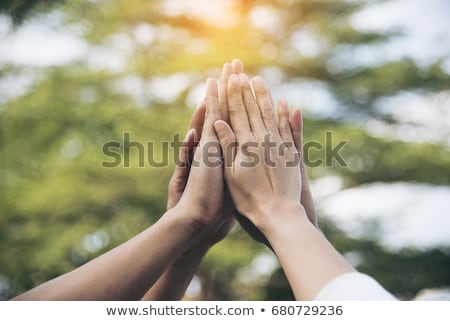 Stockfoto: Zakenman · lucht · digitale · composiet · business · hand · gelukkig