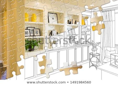 Puzzelstukjes samen afgewerkt huis bouwen tekening Stockfoto © feverpitch