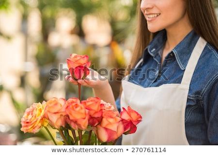 Portre gülen çiçekçi buket güzel kadın Stok fotoğraf © pressmaster