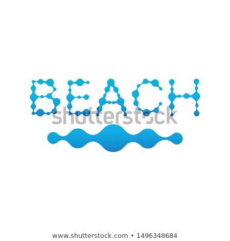 Beach wording with water drop letters, wave icon, Stock Vector Illustration isolated on white backgr Stock photo © kyryloff