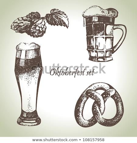 オクトーバーフェスト セット プレッツェル ビール マグ ストックフォト © karandaev