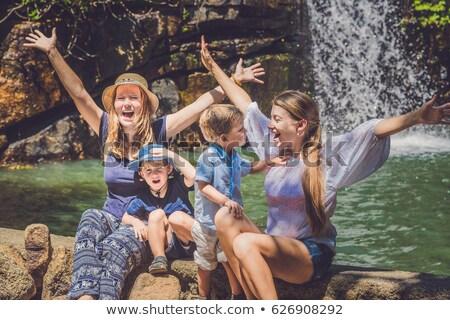 Kobiet dzieci wodospad ręce Zdjęcia stock © galitskaya