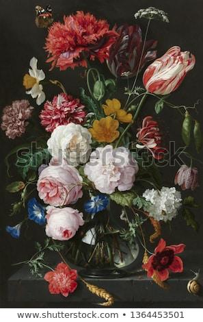 Rood rose stilleven vers donkere bloem houten Stockfoto © neirfy