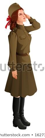 Rus kız asker askeri Retro üniforma Stok fotoğraf © orensila
