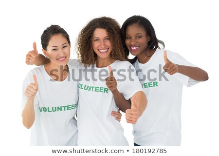 Half length shot of friendly looking African American woman tilts head, has dark crisp bushy hair, k Stock photo © vkstudio
