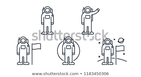 Astronaut Cosmic Suit Icon Outline Illustration Stock photo © pikepicture