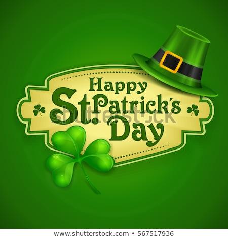 st patricks leprechaun hat and clover leaves background Stock photo © SArts