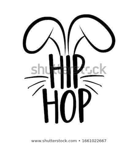 Hip hop cute lapin design drôle dessinés à la main Photo stock © Zsuskaa