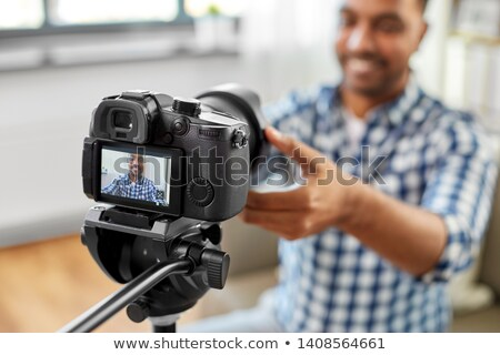 Indian wideo blogger kamery blogging Zdjęcia stock © dolgachov