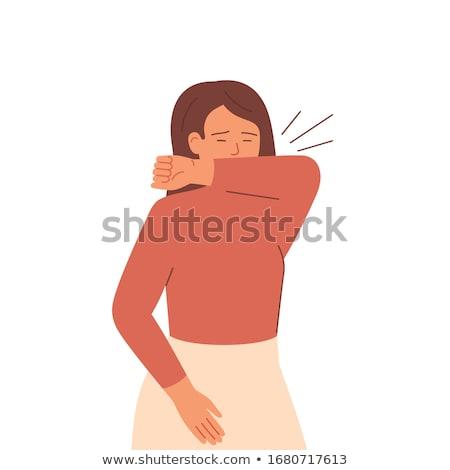 Flu Sick Woman Sneezing In Elbow Stock photo © AndreyPopov