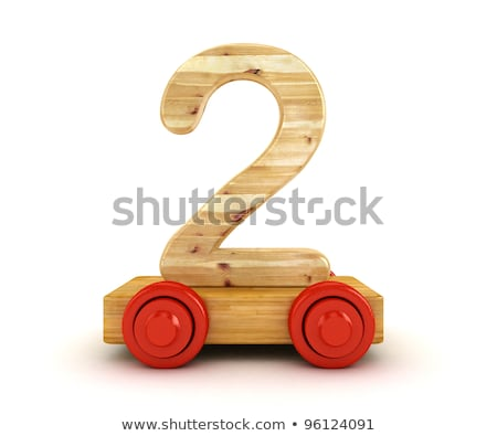 Wooden train Number 2 TWO 3D Stock photo © djmilic