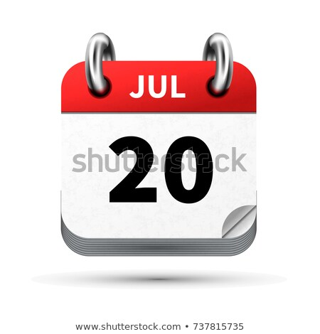 Bright realistic icon of calendar with 20 july date isolated on white Stock photo © evgeny89
