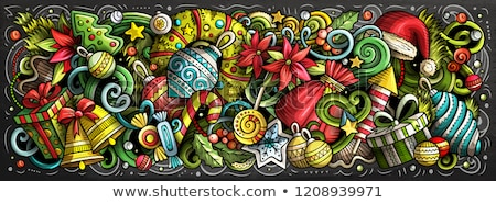Cartoon vector doodles New Year illustration. Christmas funny pi Stock photo © balabolka