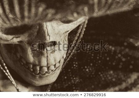 Bandita cowboy visel arc maszk feketefehér Stock fotó © patrimonio