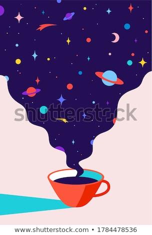 Xícara de café café universo sonhos planeta estrelas Foto stock © FoxysGraphic