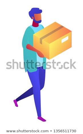 3d people carrying cardboard boxes. Stock photo © dacasdo