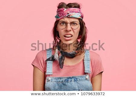 Foto stock: Em · pé · mulher · jovem · extravagante · roupa · mulheres