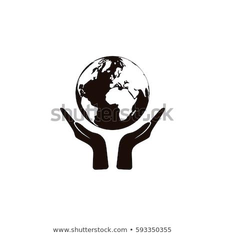eller · yardım · küre · imzalamak · beyaz - stok fotoğraf © kbuntu