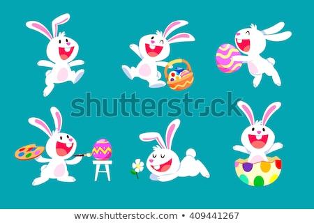 cartoon · grappig · Pasen · konijn · ei · vector - stockfoto © antkevyv