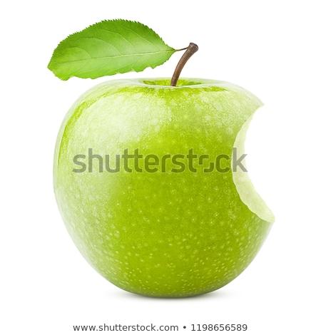 Foto stock: Verde · maçã · morder · isolado · branco