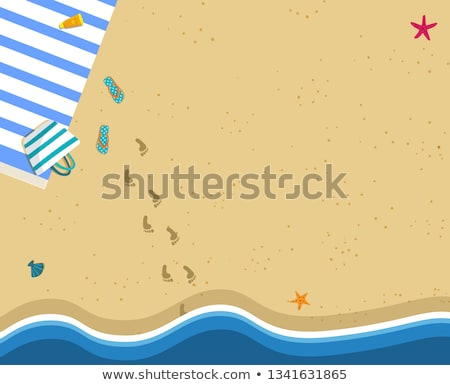 Summer time banner. Footstep on the Beach Sand. vector  Stock photo © carodi