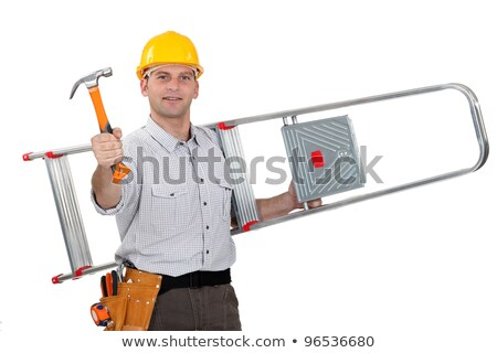 Artisan ladder slung over his shoulder Stock photo © photography33