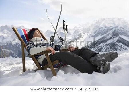 Homem esqui sozinho neve montanha gelo Foto stock © photography33