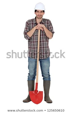 Kézműves tart ásó férfi építkezés munkás Stock fotó © photography33