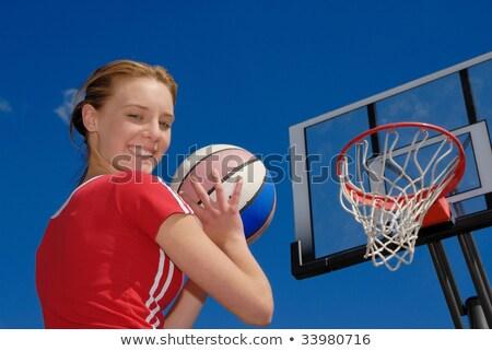 Meisje klaar spelen basketbal park fitness Stockfoto © OleksandrO