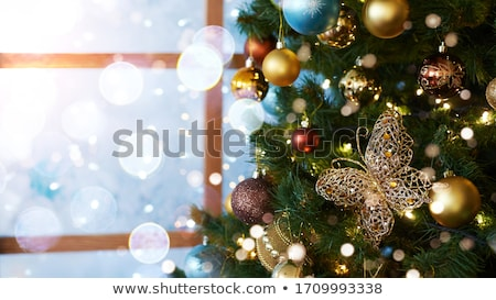 Christmas decoratie licht abstract achtergrond oranje Stockfoto © yuliang11