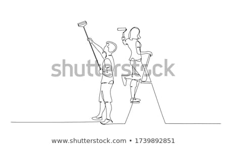 couple with hand roller stock photo © photography33