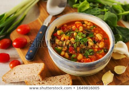 Zöldség pörkölt kép zöldségek körítés kéz Stock fotó © gregory21
