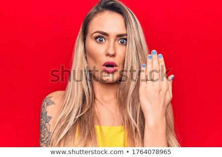 kadın · şaşırmış · Alarm · beyaz · mutlu · saat - stok fotoğraf © get4net