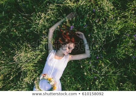 Pecoso nina vestido rojo hermosa juguetón azul Foto stock © zastavkin
