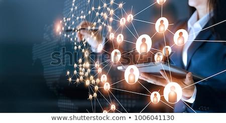 Бизнес-сеть бизнеса компьютер мужчин группа работу Сток-фото © 4designersart