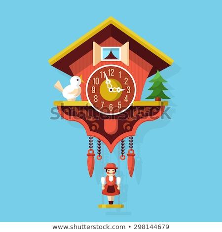 Koekoek klok hout pen konijn Stockfoto © cteconsulting