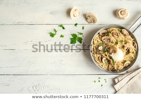Pieczarka grzyby pietruszka pozostawia odizolowany biały Zdjęcia stock © homydesign