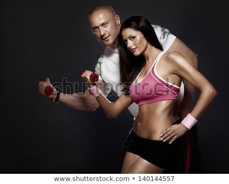 geschikt · jonge · slank · brunette · yoga · sexy - stockfoto © lithian