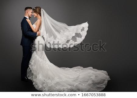Portré romantikus pár fehérnemű áll zárt Stock fotó © stryjek