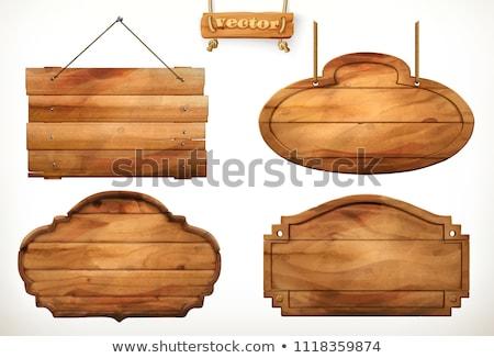 Fából készült kerítés üres felirat tábla öreg Stock fotó © 5xinc