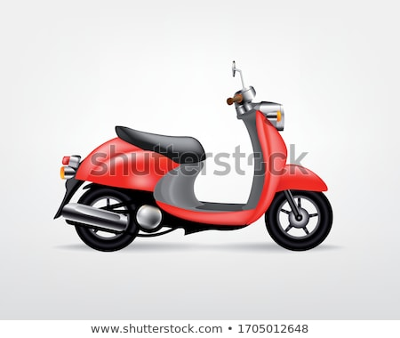 vintage image of red scooter on the street stock photo © dashapetrenko