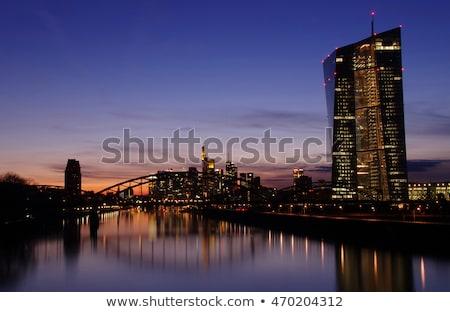 Naplemente Frankfurt folyó fő- új irodaépületek Stock fotó © meinzahn